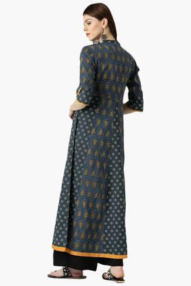 Womens Cotton Printed A-Line Kurta