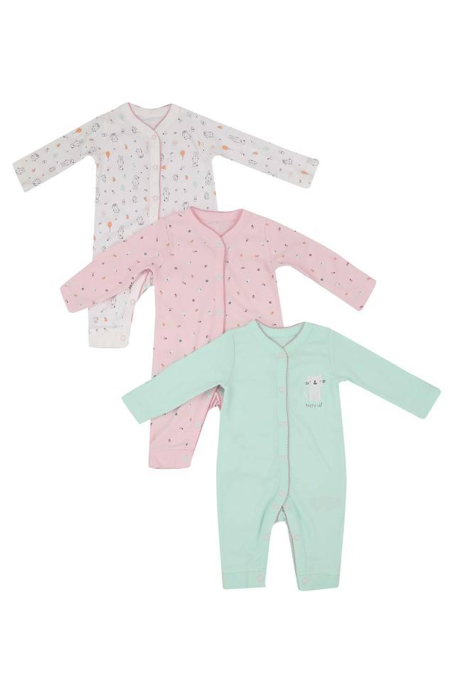 Girls Round Neck Solid and Printed Bodysuit Pack of 3
