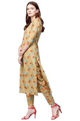 Womens Mandarin Collar Printed Kurta and Pants Set