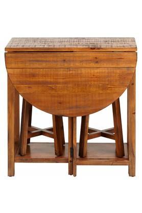 Natural Tom Table And Two Stools