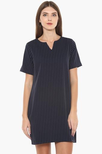 Womens Notched Neck Stripe Shift Dress
