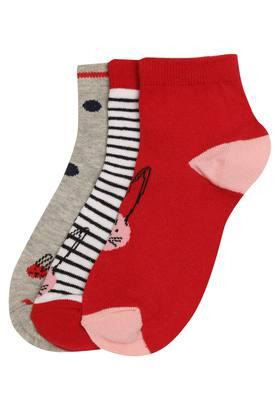 Girls Solid Printed and Stripe Socks Pack of 3