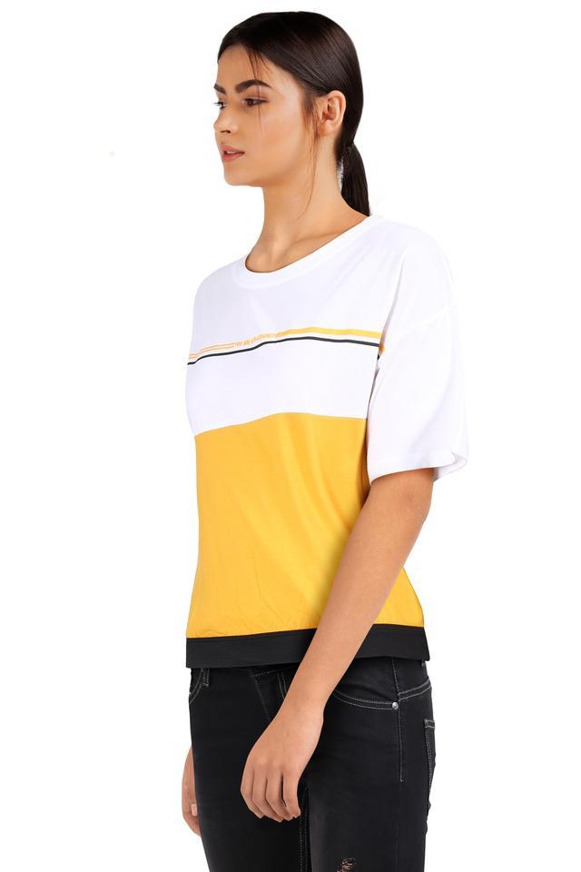 Womens Round Neck Colour Block T-Shirt