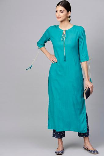 Womens Tie Up Neck Solid Kurta and Pants Set