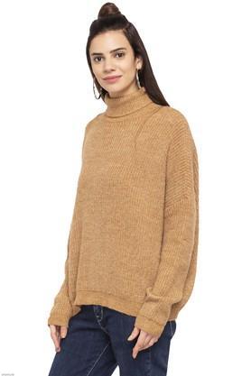Womens Turtle Neck Slub Pullover