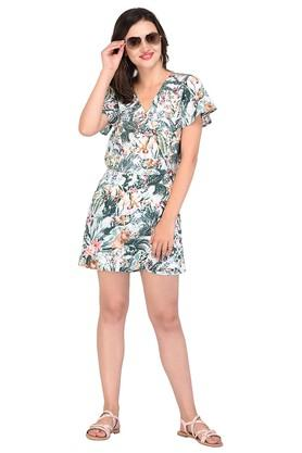 Womens Surplice Neck Printed Jumpsuit