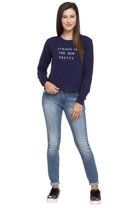 Womens Round Neck Printed Sweatshirt