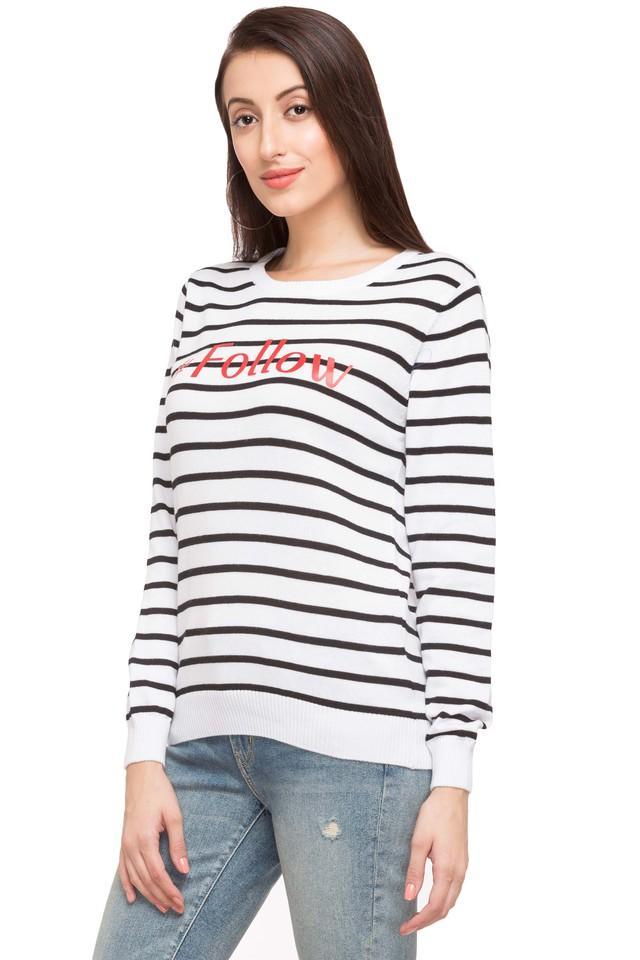 Womens Round Neck Stripe Sweater