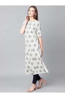 Women Cotton Checks Straight Kurta