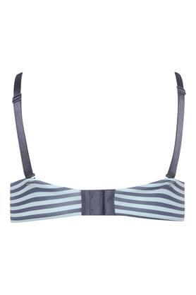 Womens Stripe Underwired Padded Push Up Bra