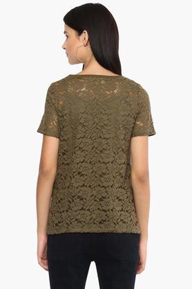 Womens Round Neck Lace Applique Top
