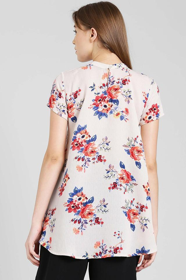 Womens Band Neck Floral Print Top