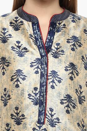 Womens Mandarin Neck Printed Pants Suit