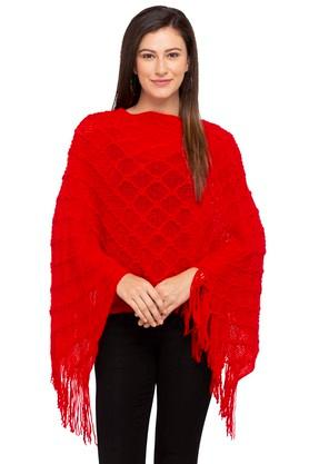 GIPSY Womens Round Neck Knitted Pattern Poncho