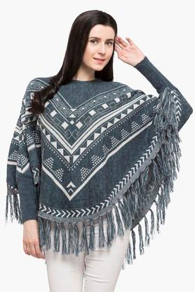 ONER Womens Round Neck Printed Poncho