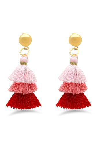 Womens Colour Block Tassel Drop Earrings