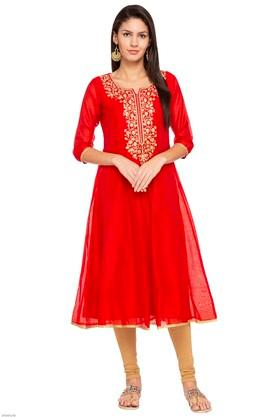 Womens Notched Neck Embroidered Kurta