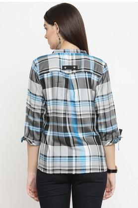 Womens Mandarin Neck Check Shirt