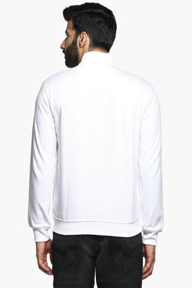 Mens Zip Through Neck Slub Sweatshirt