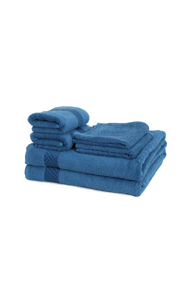 Flamboyance Houndstooth Print Towel Set - Pack Of 6