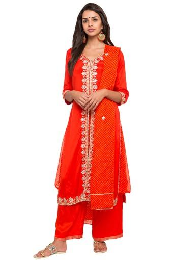 c99ddc75dc7 Buy BIBA Womens V- Neck Embroidered Palazzo Suit