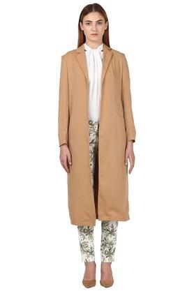 Womens Notched Lapel Solid Long Coat