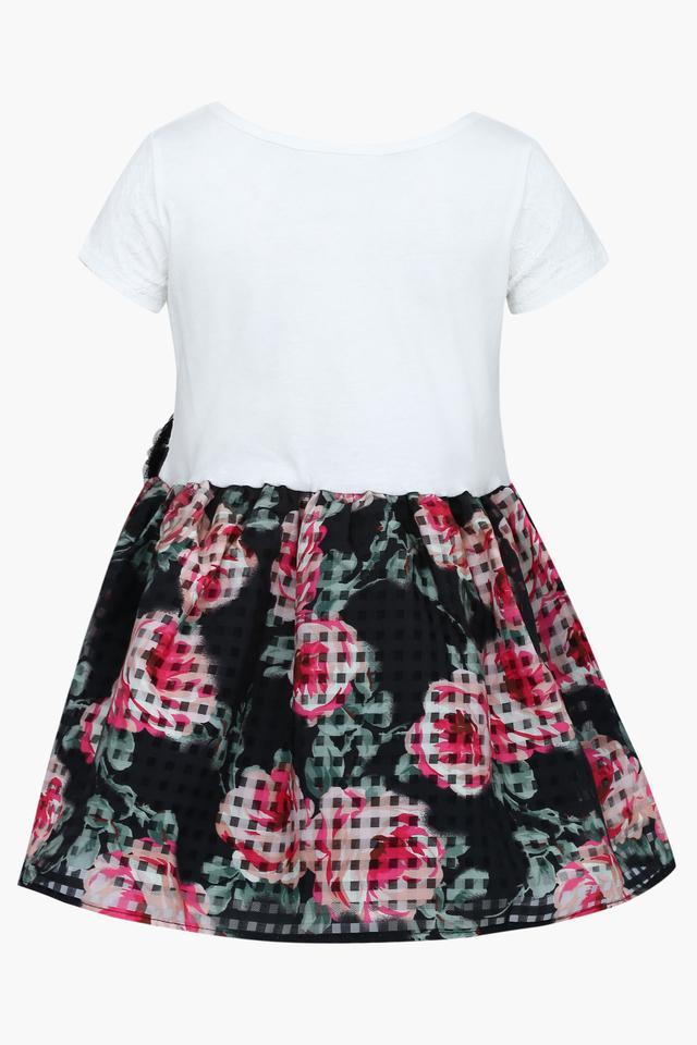 Girls Round Neck Printed A-Line Dress