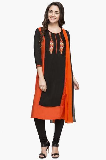 Womens Round Neck Colour Block Churidar Suit