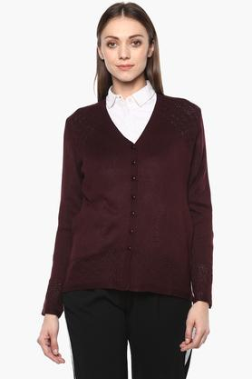 APSLEY Womens V Neck Solid Cardigan