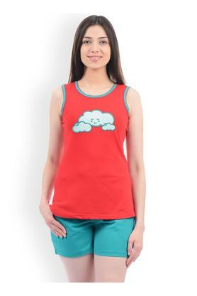 Womens Round Neck Printed Top and Solid Shorts