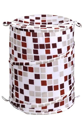 Cylindrical Printed Laundry Basket with Lid