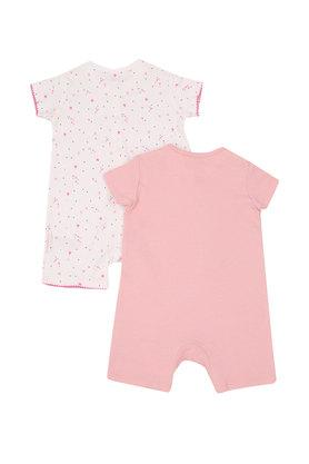 Girls Round Neck Patch Work and Printed Romper - Pack of 2
