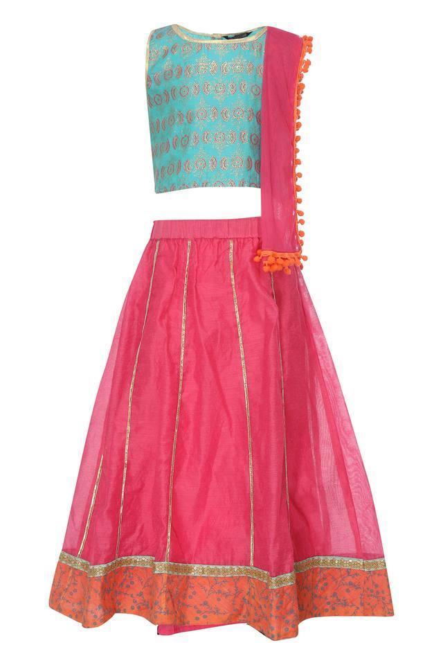 Girls Round Neck Printed Ghaghra Choli Dupatta Set