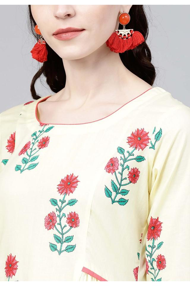 Womens Round Neck Floral Print Kurta and Palazzo Set