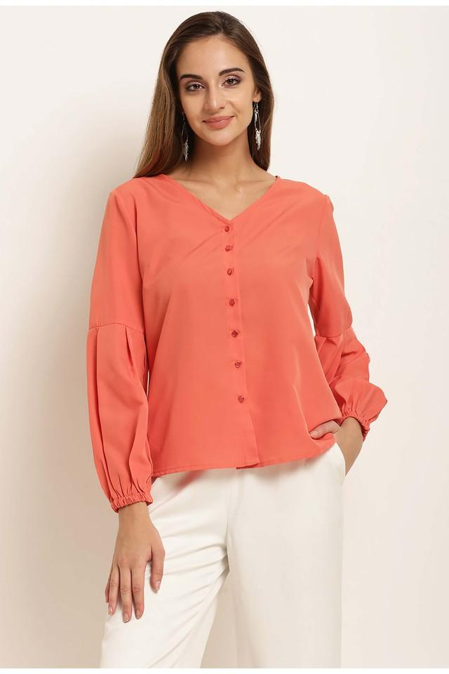 Womens V- Neck Solid Shirt