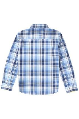 Boys Regular Fit Collared Check Shirt