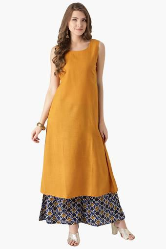 Buy Libas Womens Cotton Solid Kurta With Jacket And Printed Palazzo