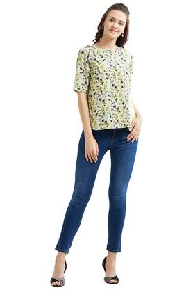 Womens Round Neck Floral Top