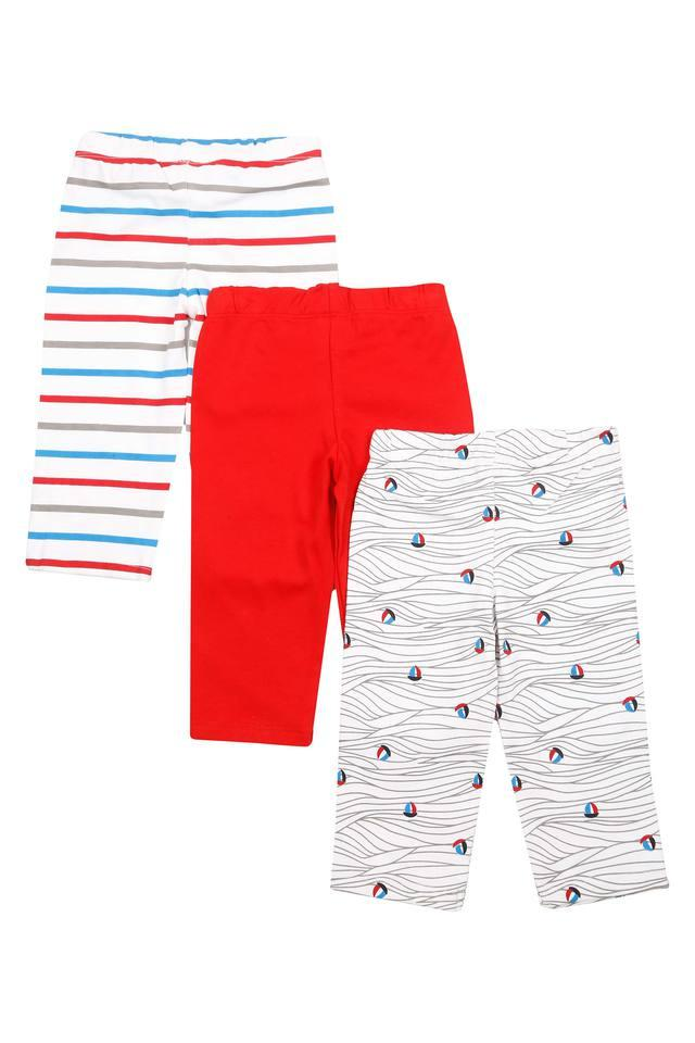 Boys Solid Printed and Stripe Pyjamas - Pack of 3