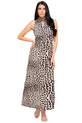 Womens Cut Out Neck Printed Maxi Dress