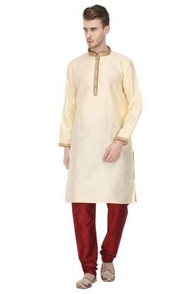 Mens Mandarin Collar Slub Kurta with Churidar Set
