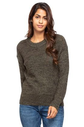 FRATINI WOMAN Womens Round Neck Knitted Pattern Sweater