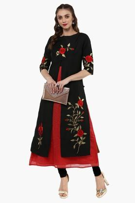 JUNIPER Womens Embroidered Double Layered Kurta