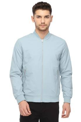 JACK AND JONES Mens Mao Neck Solid Jacket
