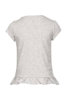 Girls Round Neck Printed T-Shirt