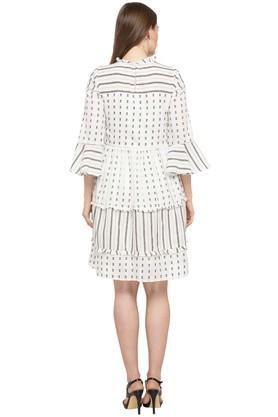 Womens Ruffled Collar Printed A-Line Dress