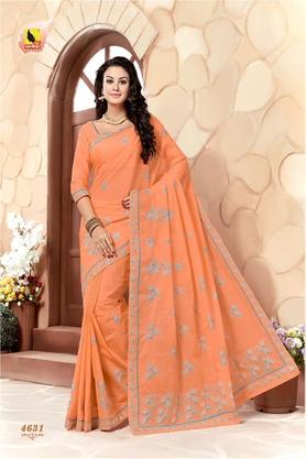 ASHIKA Womens Embroidered Saree With Blouse Piece - 204576967_9506