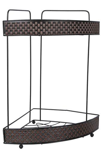 Metallic Basket Weave Corner 2 Rack Shower Caddy