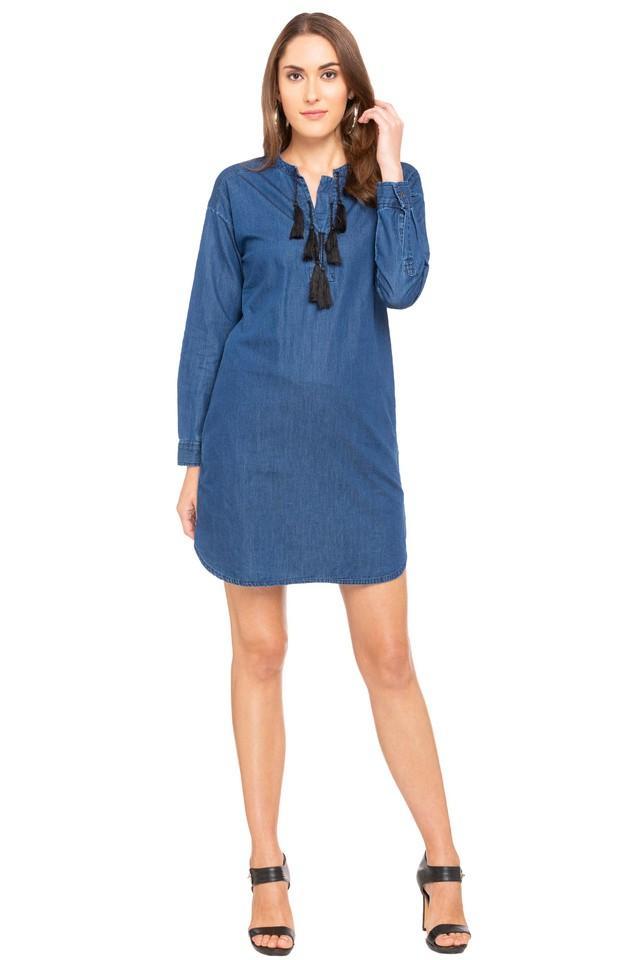 Womens Mandarin Neck Washed A-Line Dress