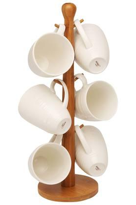 FERN Solid Coffee Mug With Stand (Set Of 6)